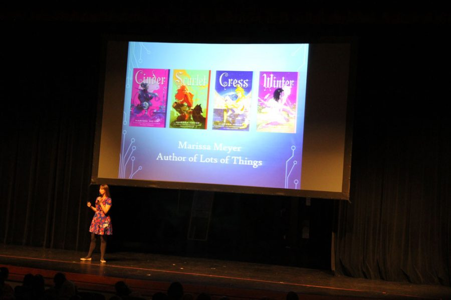 Author Marissa Meyer visited Edmond Memorial High School.